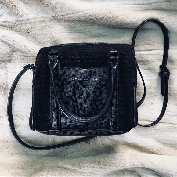 A X Armani Exchange Handbags - ARMANI EXCHANGE Leather Satchel Shoulder  Purse Bag b8f6dcdbbd18d